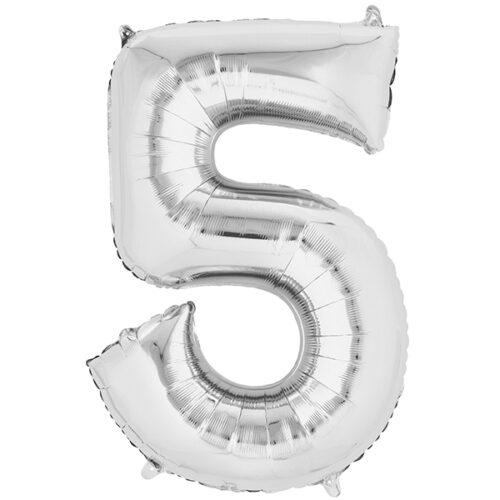 Zahlenballon Silber